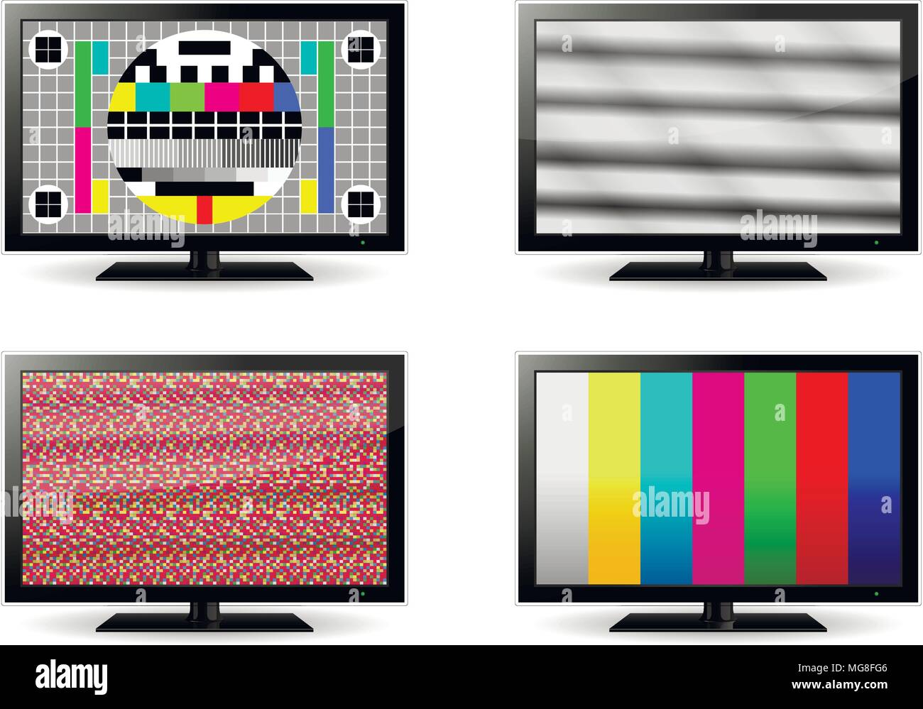 TV test and no signal screens. Vector illustration. - Stock Image