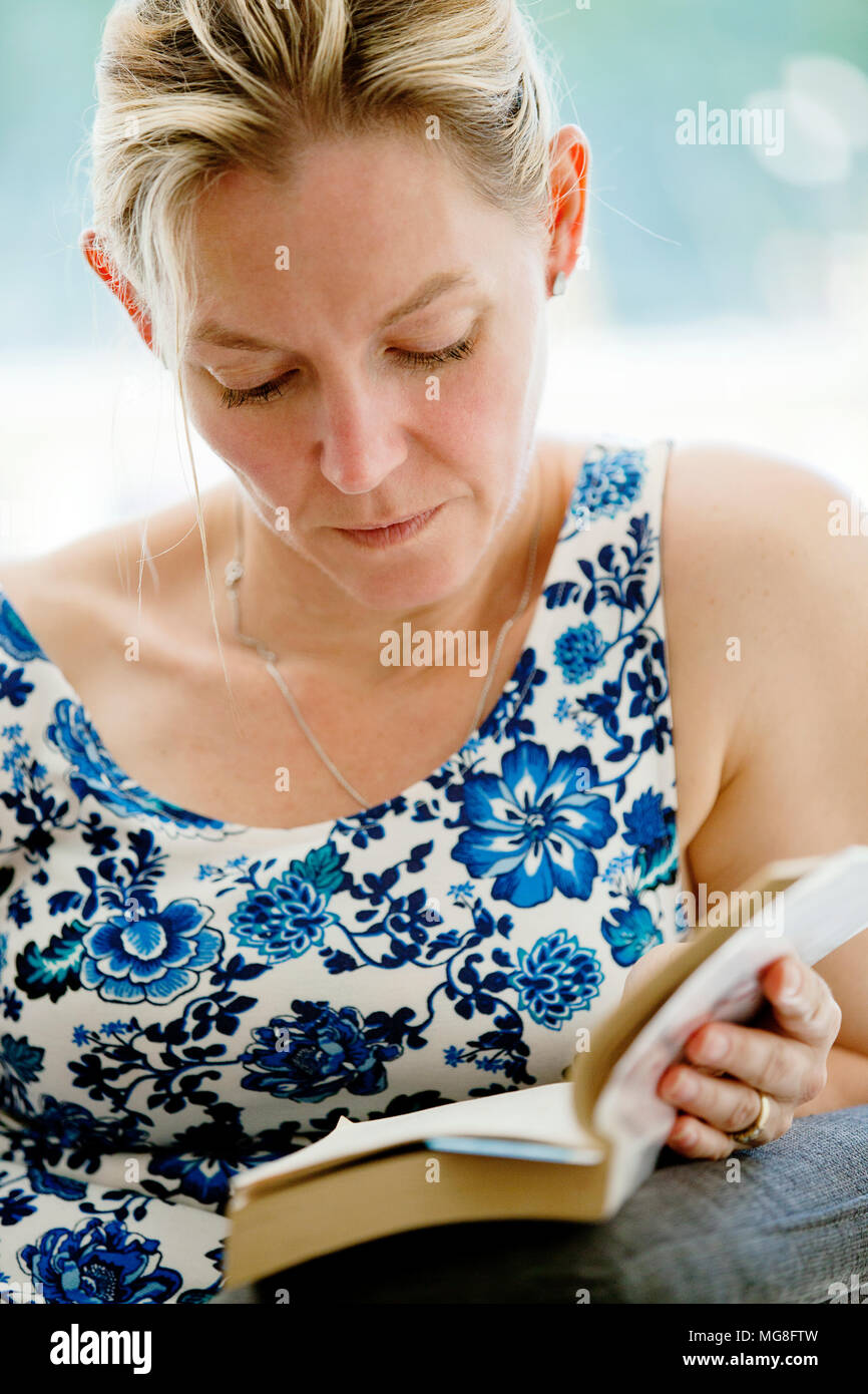 Lady reading Stock Photo