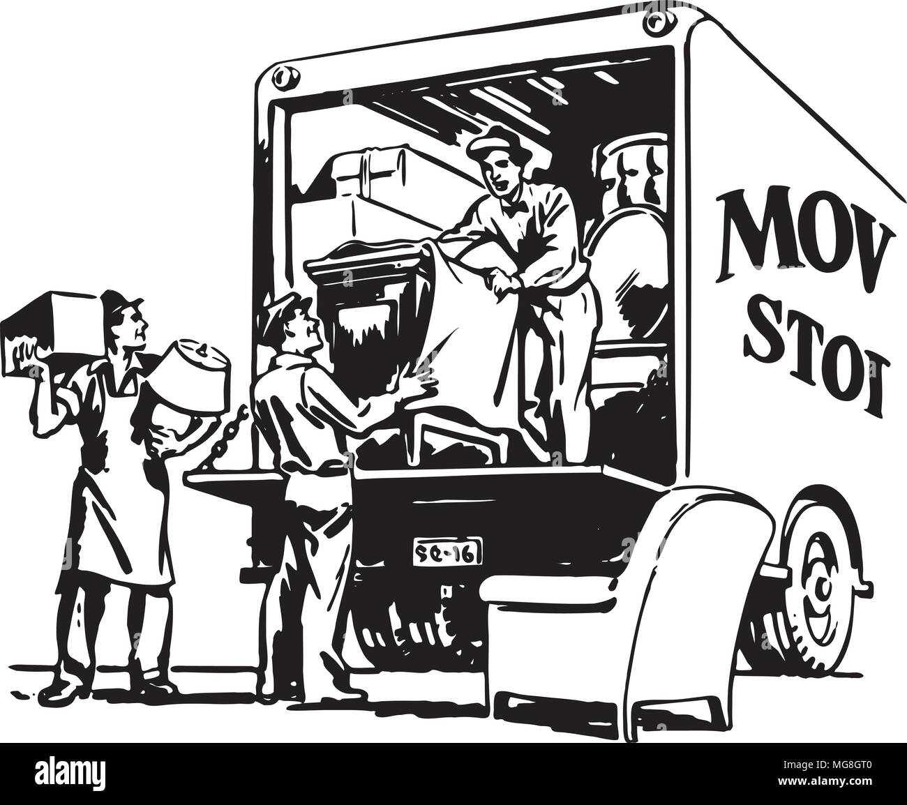 packing moving van retro clipart illustration stock vector art rh alamy com moving van clipart images Moving Truck