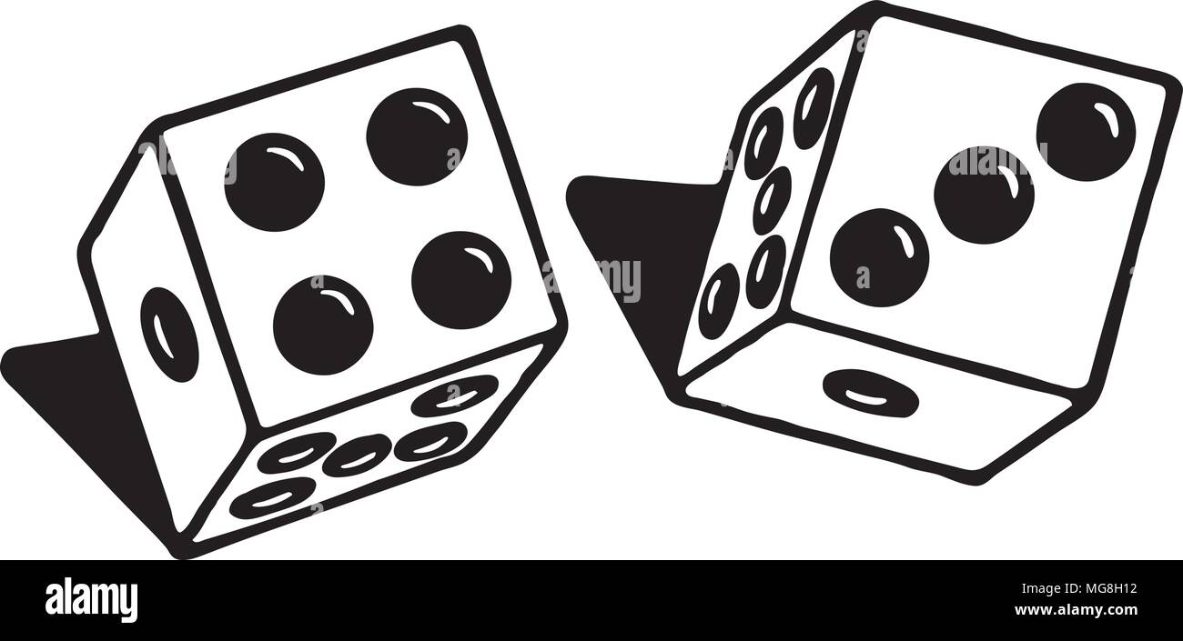 Pair Of Dice - Retro Ad Art Illustration - Stock Image