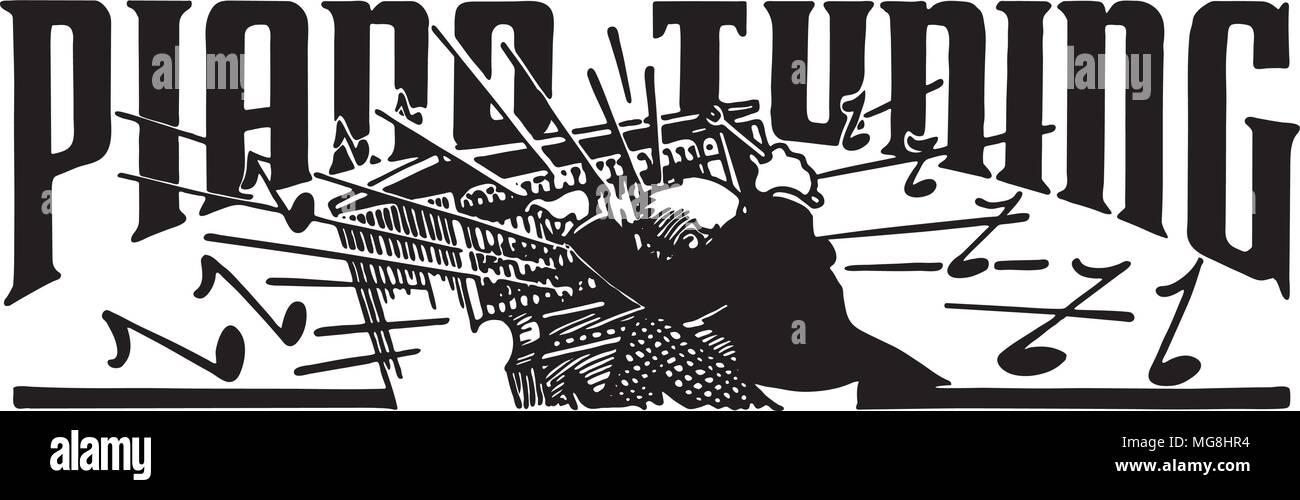 Piano Tuning - Retro Ad Art Banner - Stock Image