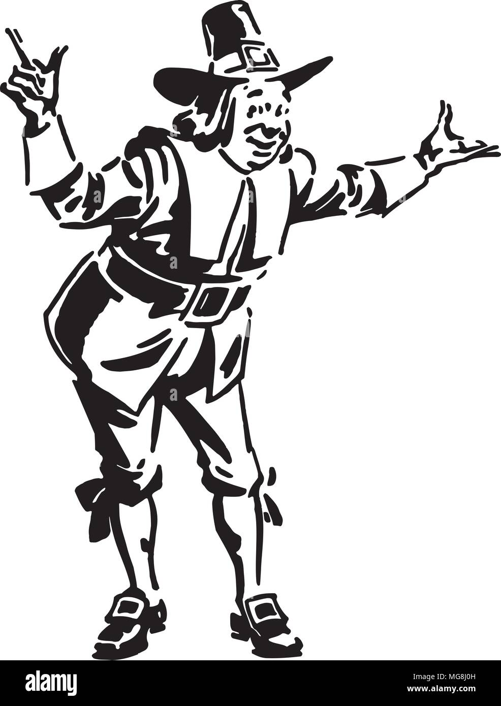 Pilgrim Man - Retro Clipart Illustration - Stock Image