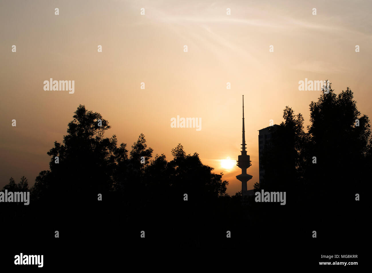 Sunset with the Liberation Tower in the background, Kuwait Stock Photo