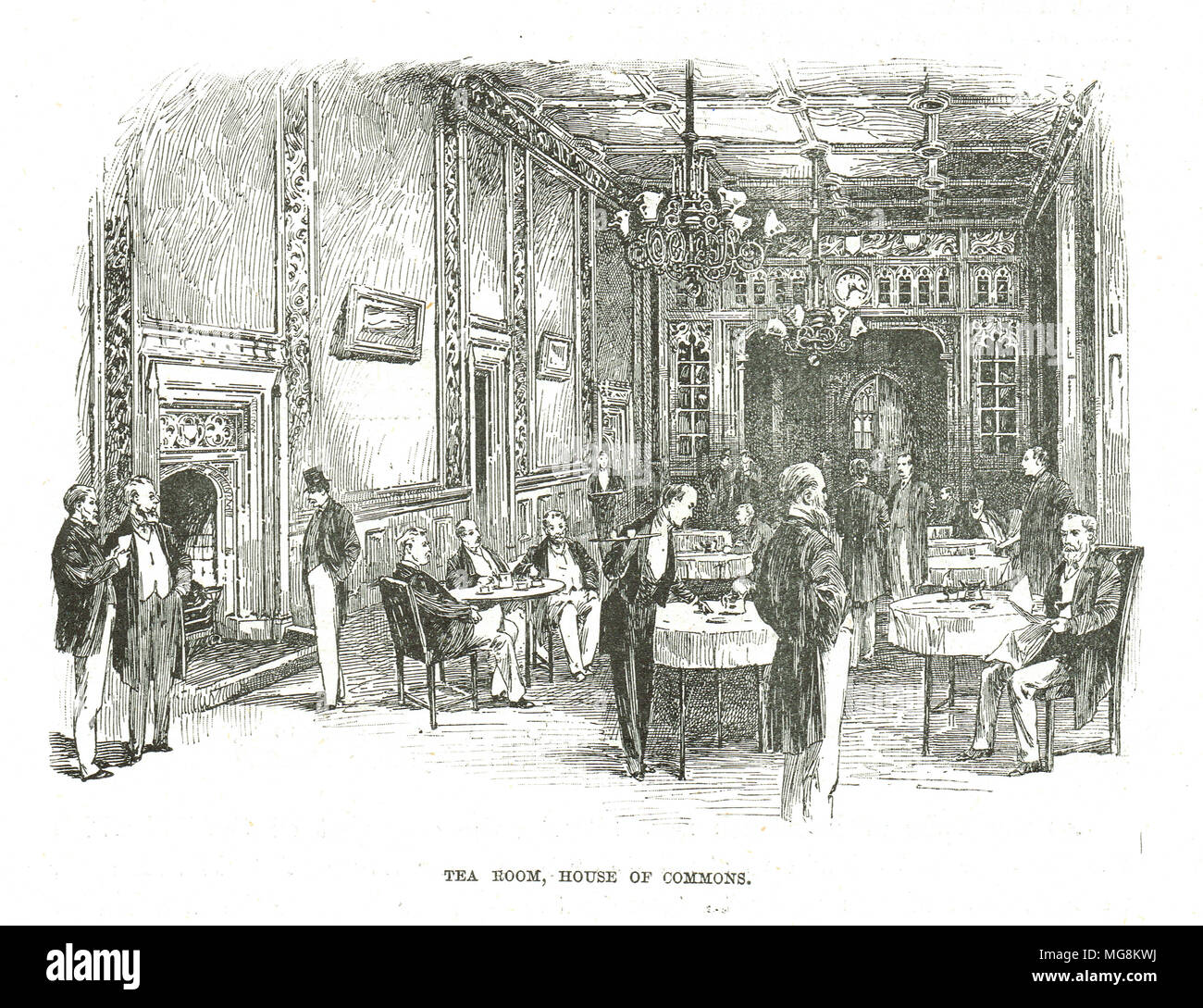 Tea Room, House of Commons, 19th Century, palace of Westminster, London, England - Stock Image