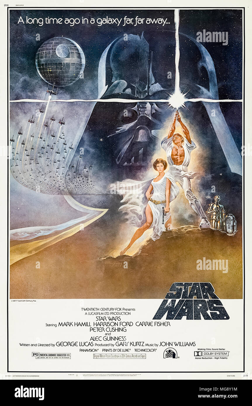 Star Wars (1977) directed by George Lucas and starring Mark Hamill, Harrison Ford, and Carrie Fisher. The Rebel Alliance destroy the Imperial Forces ultimate weapon in a galaxy far far away… - Stock Image