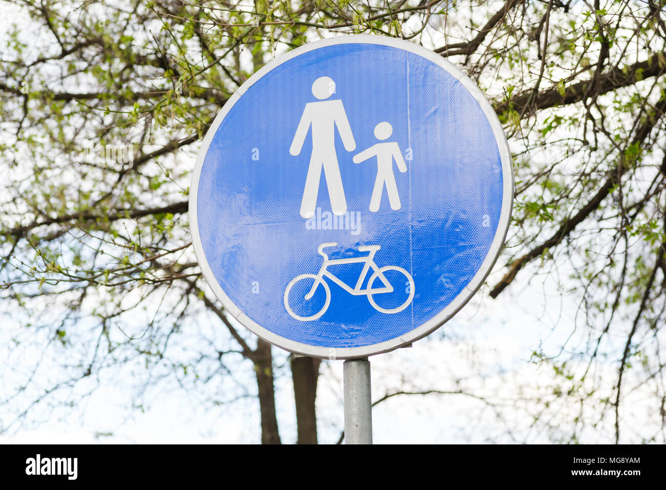 road sign for pedestrians and cyclists - Stock Image