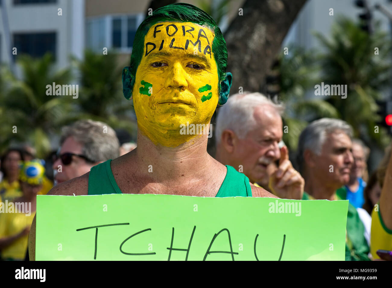 Copacabana beach, Rio de Janeiro, Brazil - July 31, 2016: Demonstrator takes part in a protest demanding the impeachment of President Dilma Rousseff - Stock Image