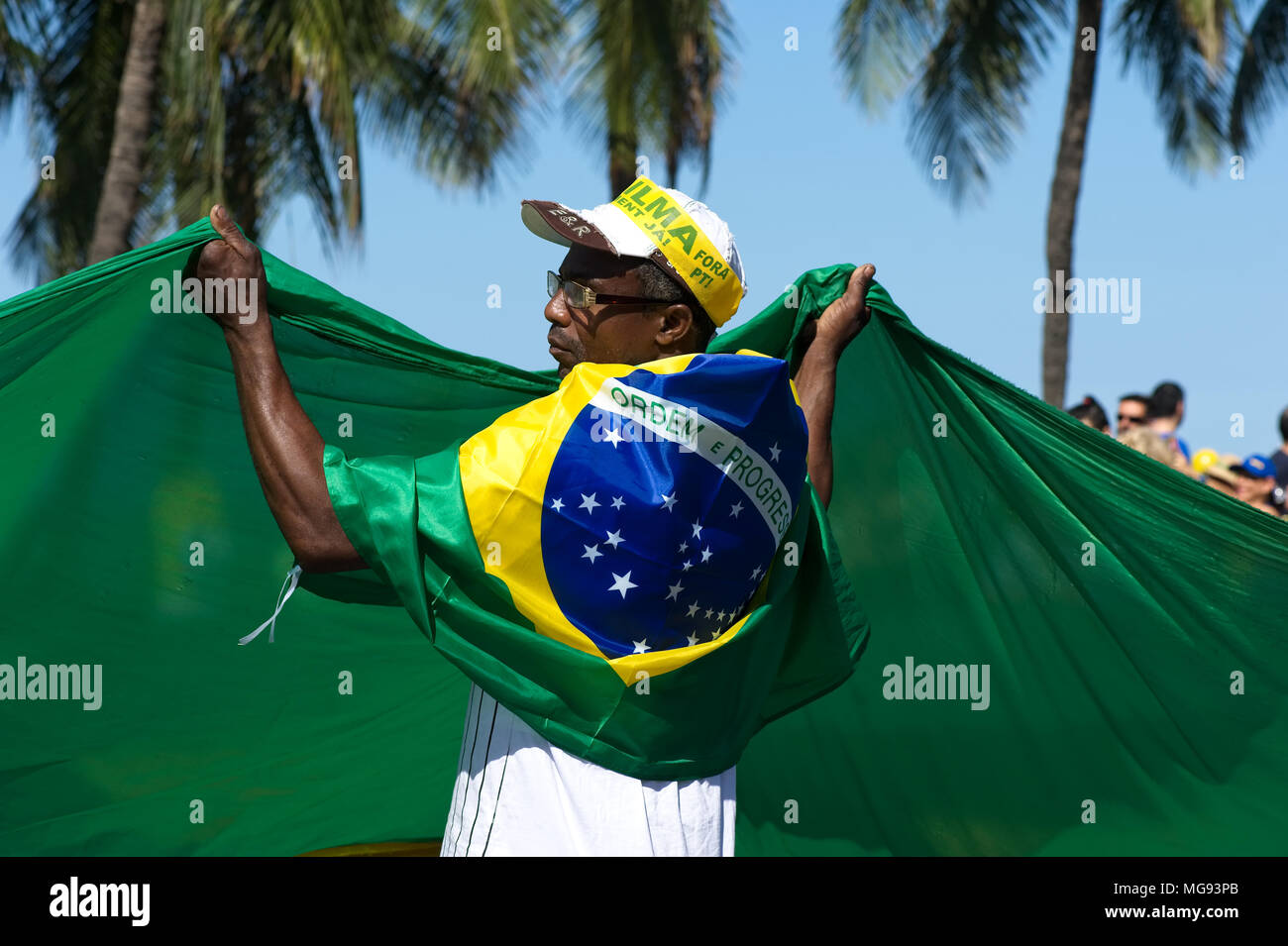 Rio de Janeiro - July 31, 2016: Peaceful demonstration against corruption in Brazil took over Copacabana beach - Stock Image
