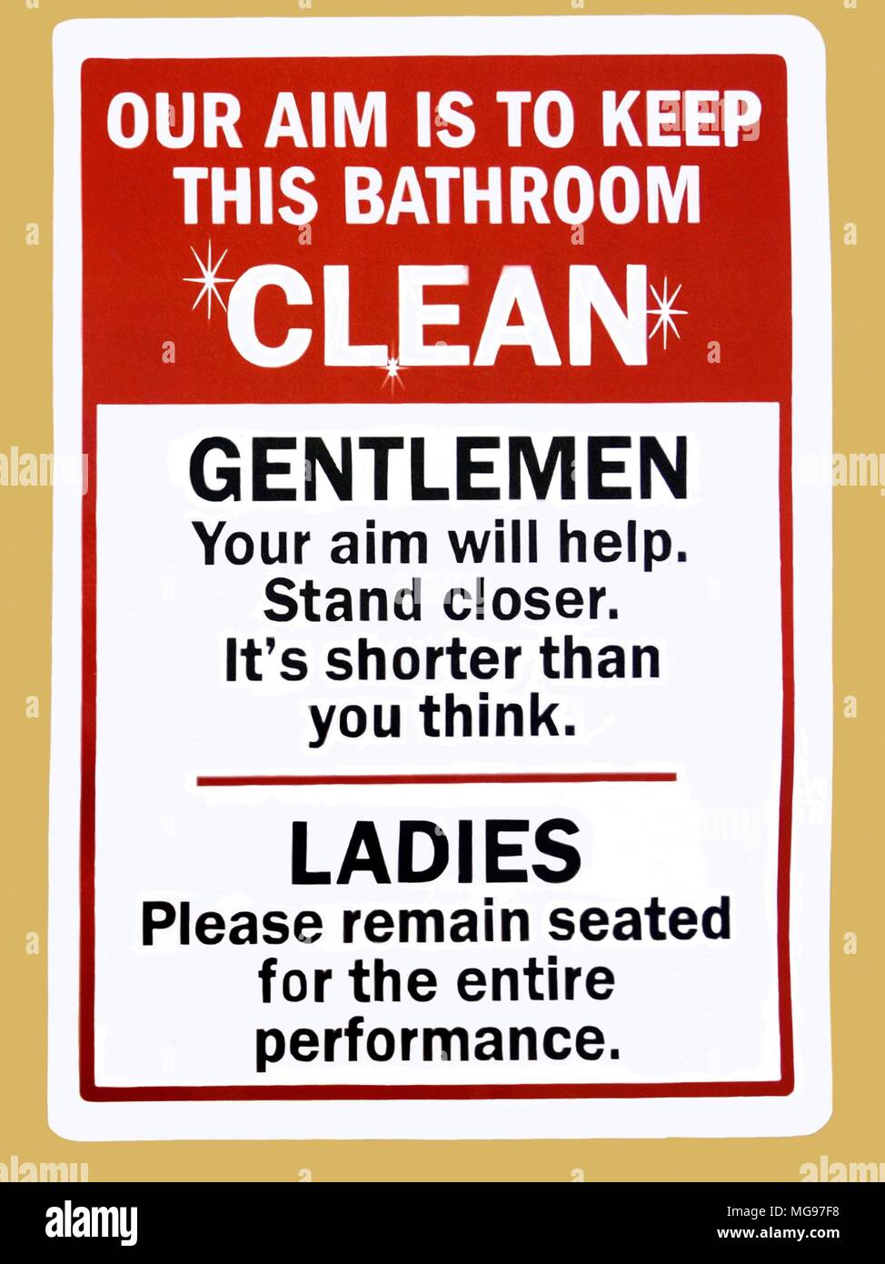An instruction sign advising gentleman and ladies how to