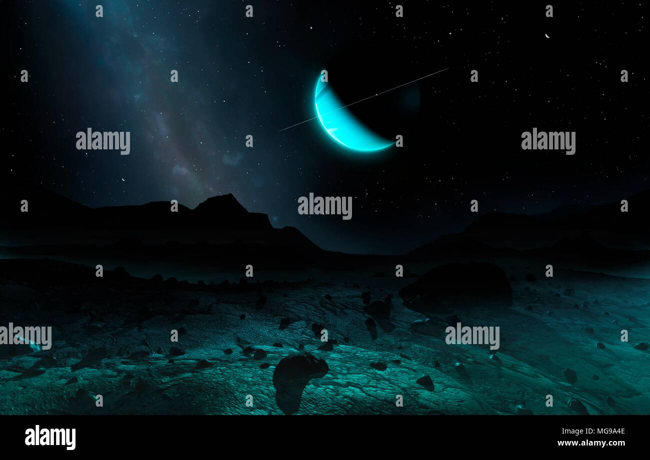 Uranus seen from Titania, illustration. From the night-time surface of Titania, the crescent discs of Uranus and its three innermost large moons glow steadily overhead. Though the planet appears about 13 times larger than our Moon does from Earth it shines as bright as only two full Moons, so feeble is the sunlight. - Stock Image