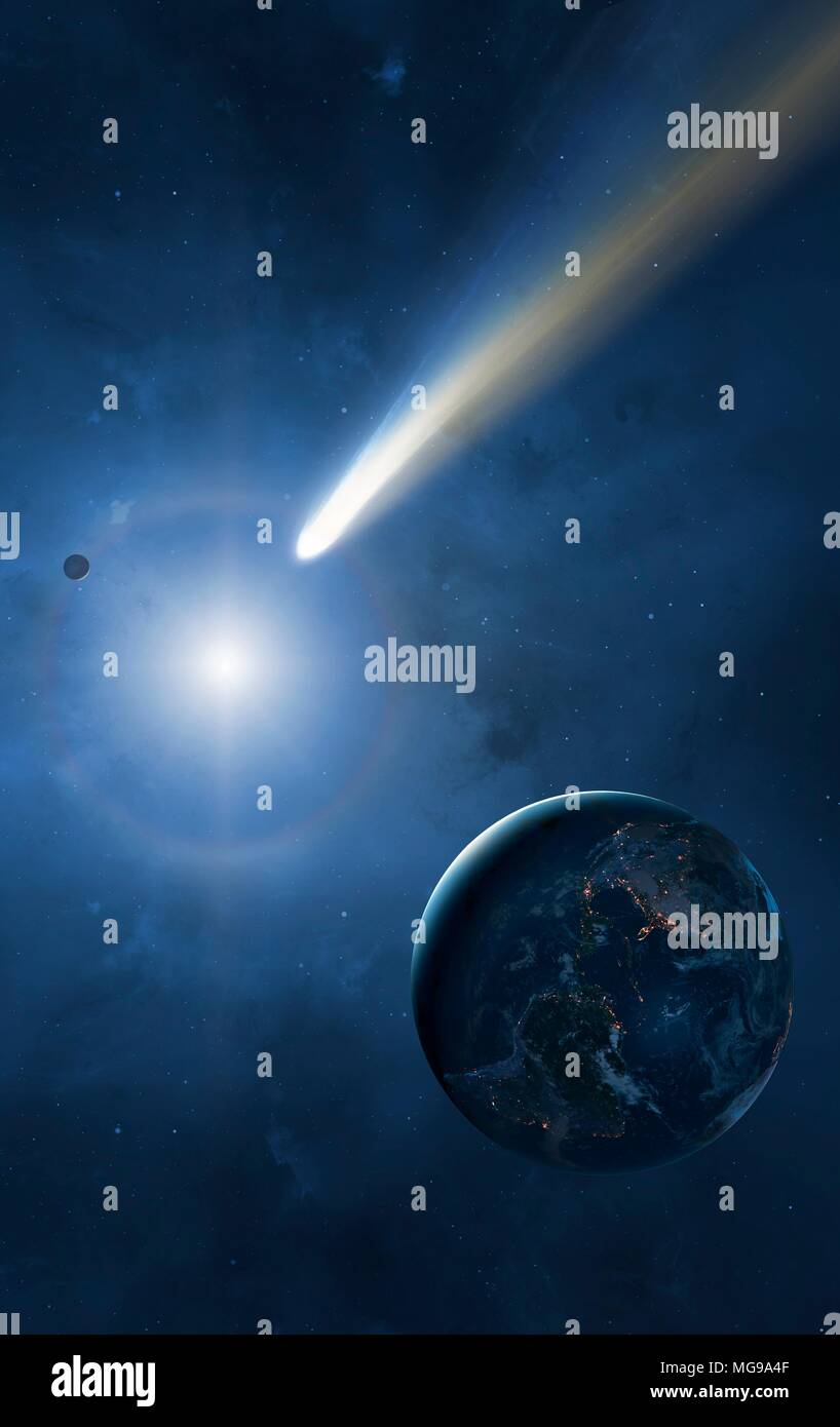 Illustration of the Earth, Moon and Sun showing a passing comet. Cities are seen glistening, defining the edges of the Earth's continents. Comets are balls of loosely packed 'dirty ice'. As they near the Sun, their gases sublimate and form long tails blustering away from the star. The tails can stretch for tens of thousands of kilometres, dwarfing even the Earth-Moon separation. - Stock Image