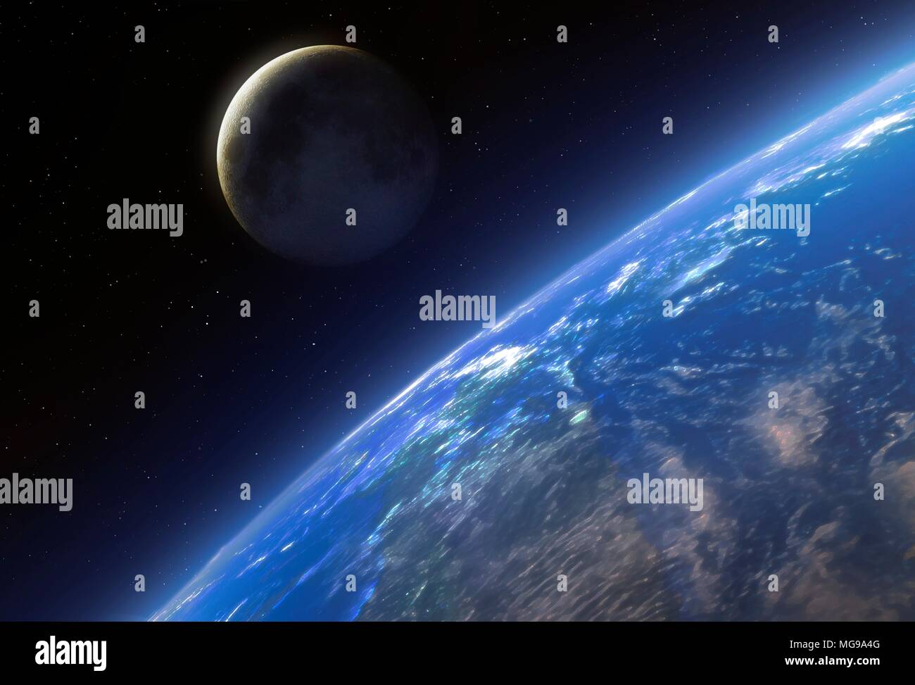 The Earth and Moon seen from space, illustration. - Stock Image