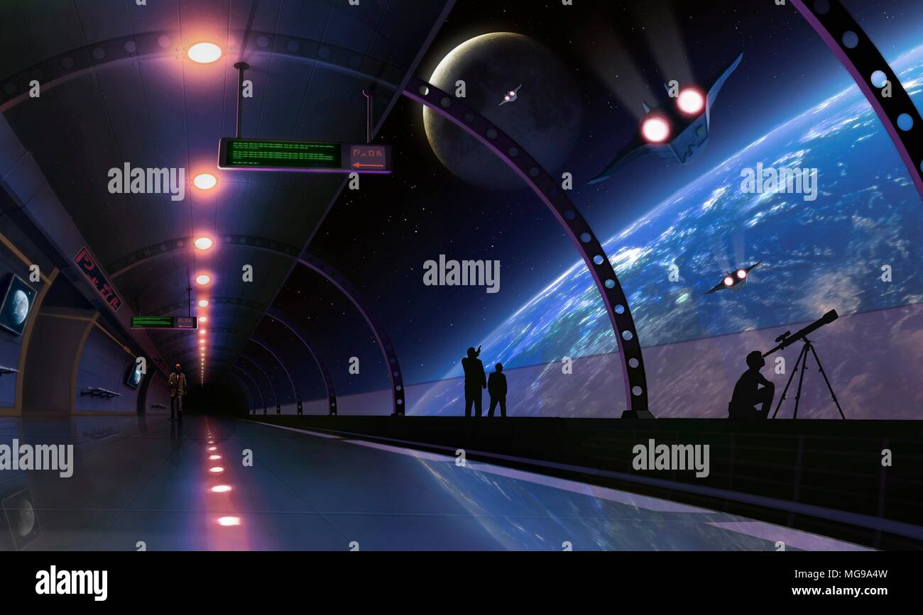 Conceptual illustration of a space station, terminal or habitat in Earth orbit in the future. People are seen pointing outside, and one of them is using a telescope. - Stock Image