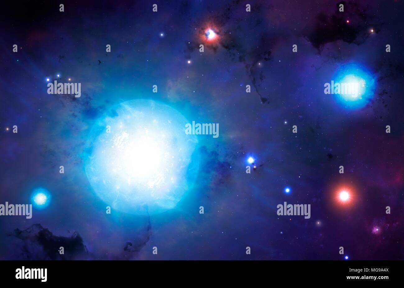 Illustration of the Universe's first generations of stars. Scientists estimate that the first stars began to shine when the Universe was just 180 million years old, a fraction of its 13.8-billion-year age. Astronomers have detected these stars indirectly for the first time, by observing the signals in hydrogen gas that these stars illuminated. These stars are theorized to have been very massive, burning through their hydrogen supplies in around a million years or so, and then turning into the red giants and supergiants seen in this illustration. - Stock Image