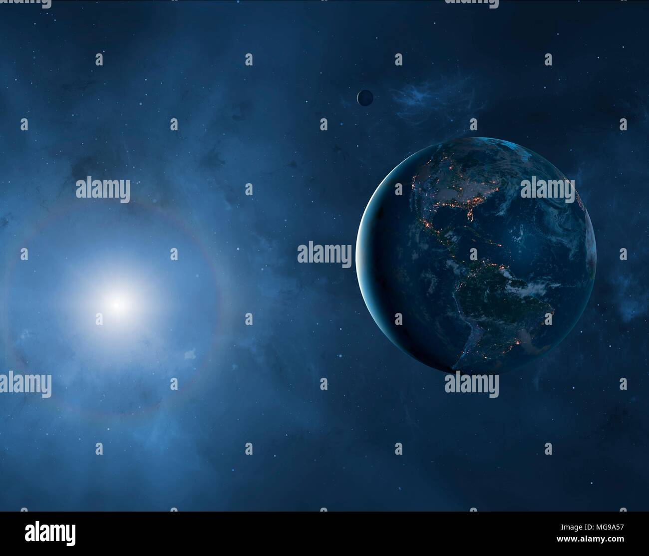 Illustration of the Earth and Moon showing a large proportion of the planet in darkness. Cities are seen glistening, defining the edges of the continents. This view shows North and South America. - Stock Image