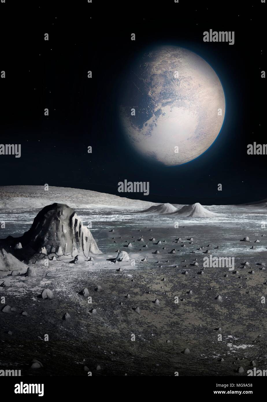 Illustration of a view of Pluto seen from the surface of its largest moon Charon. Because Pluto and Charon are tidally locked, they keep the same face towards each other at all times, as the Moon does to the Earth. So if one stood on Charon (or Pluto) the other world would stay fixed in the sky - never setting or rising, but still cycling through its phases. And if one were on the wrong hemisphere of Pluto (or Charon) one would never see the other world. - Stock Image