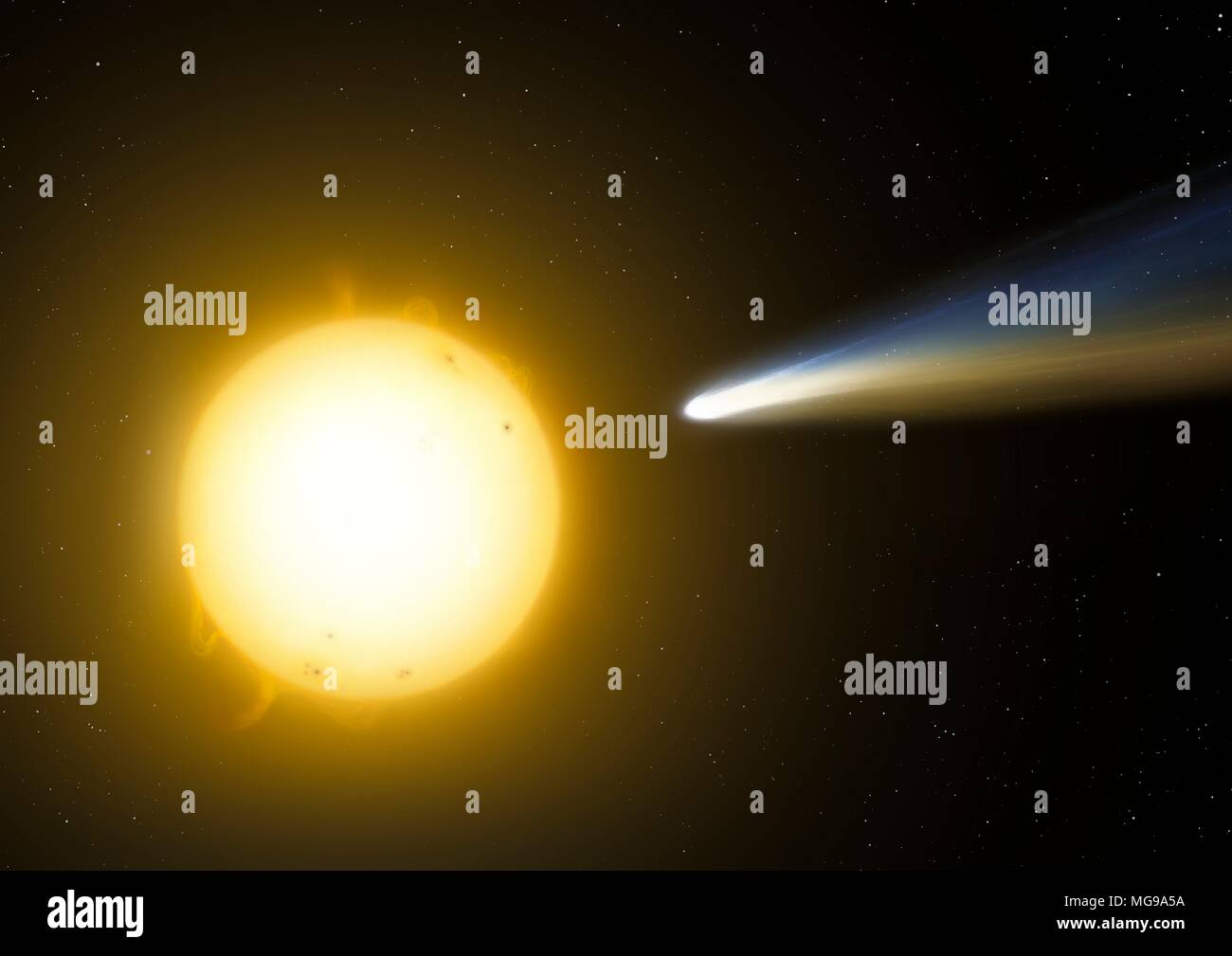 Illustration of a sungrazing comet. These are comets that pass very close to the Sun at perihelion. Sometimes they can skirt above the photosphere at distances of just a few thousand kilometres - the mere diameter of a small planet. Occasionally comets are completely evaporated in this process, but some can last several passes before either falling into the Sun or disintegrating because of tidal forces. - Stock Image