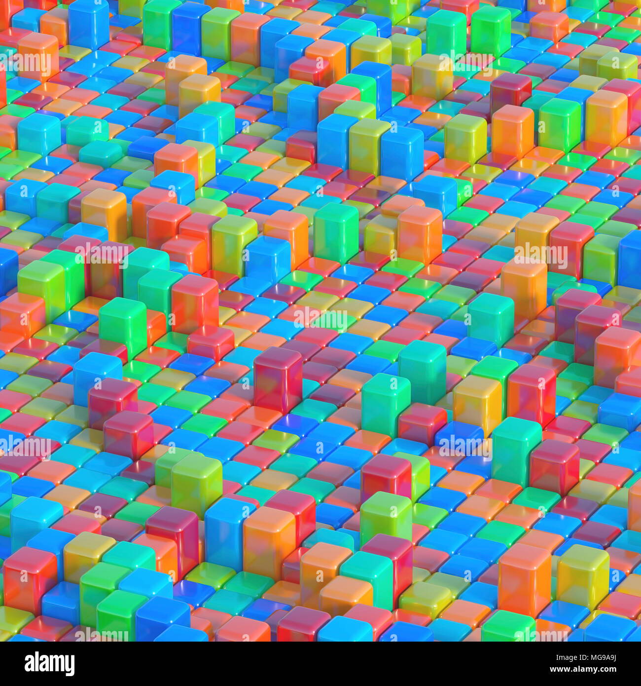 Multicoloured cubes, illustration. - Stock Image
