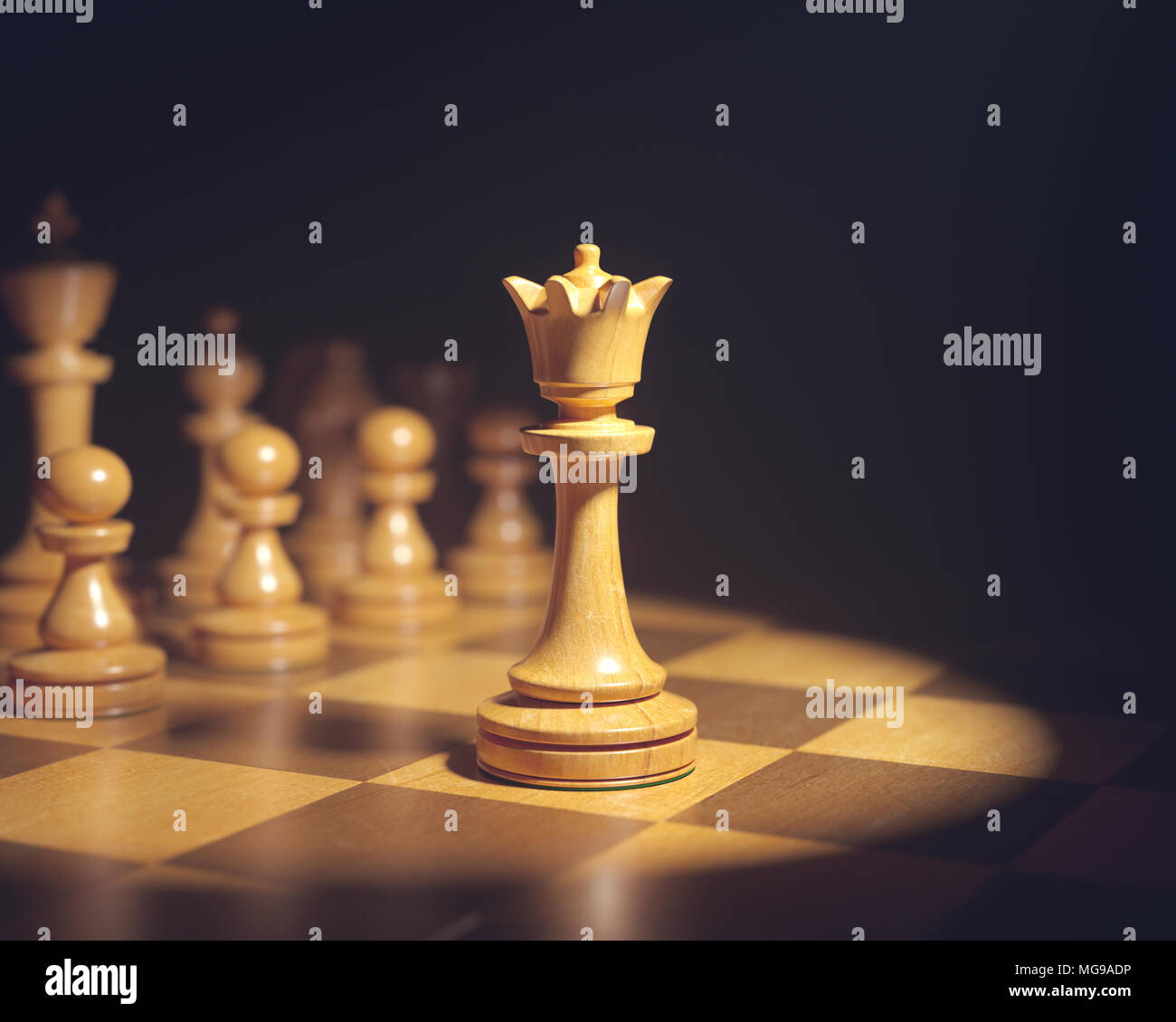 Chess queen on board. - Stock Image