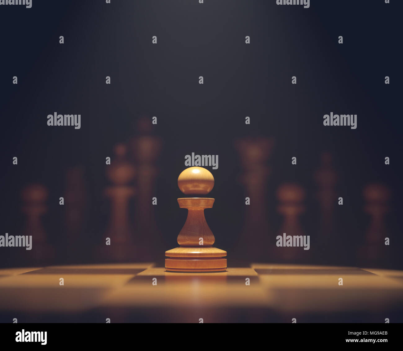 Chess pawn on board. - Stock Image