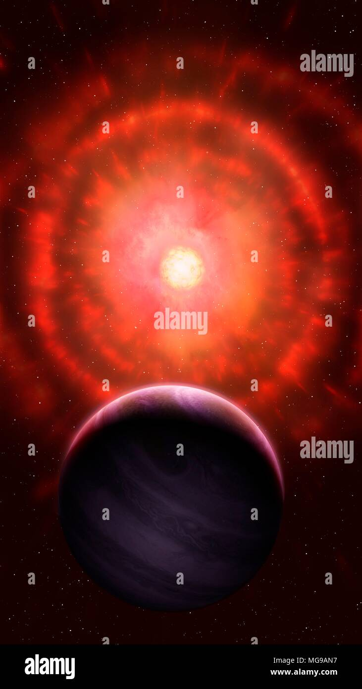 Illustration of a red giant star shedding its outer layers. Red giants are very evolved stars, that have depleted their stores of hydrogen. This leads to the core collapsing under gravity, which makes it hotter. This fresh heat pushes on the star's outermost layers and gradually the star loses mass as its atmosphere escapes, bit by bit, into space. This is how planetary nebulae are formed. In this picture, a red giant has already expelled much of its atmosphere in a series of shells. A nearby planet is seen in the foreground. - Stock Image