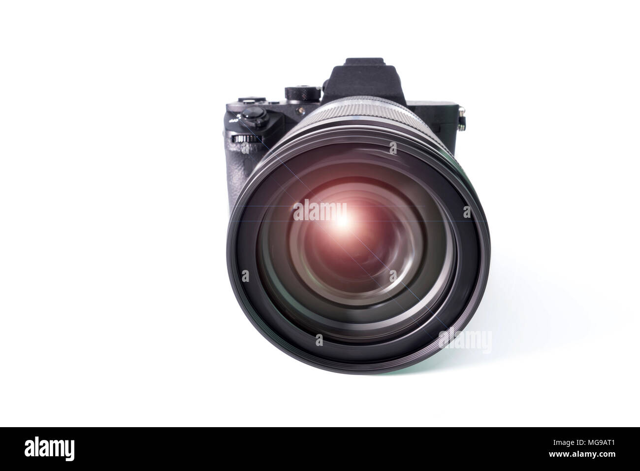 Digital mirrorless camera with zoom lens. - Stock Image