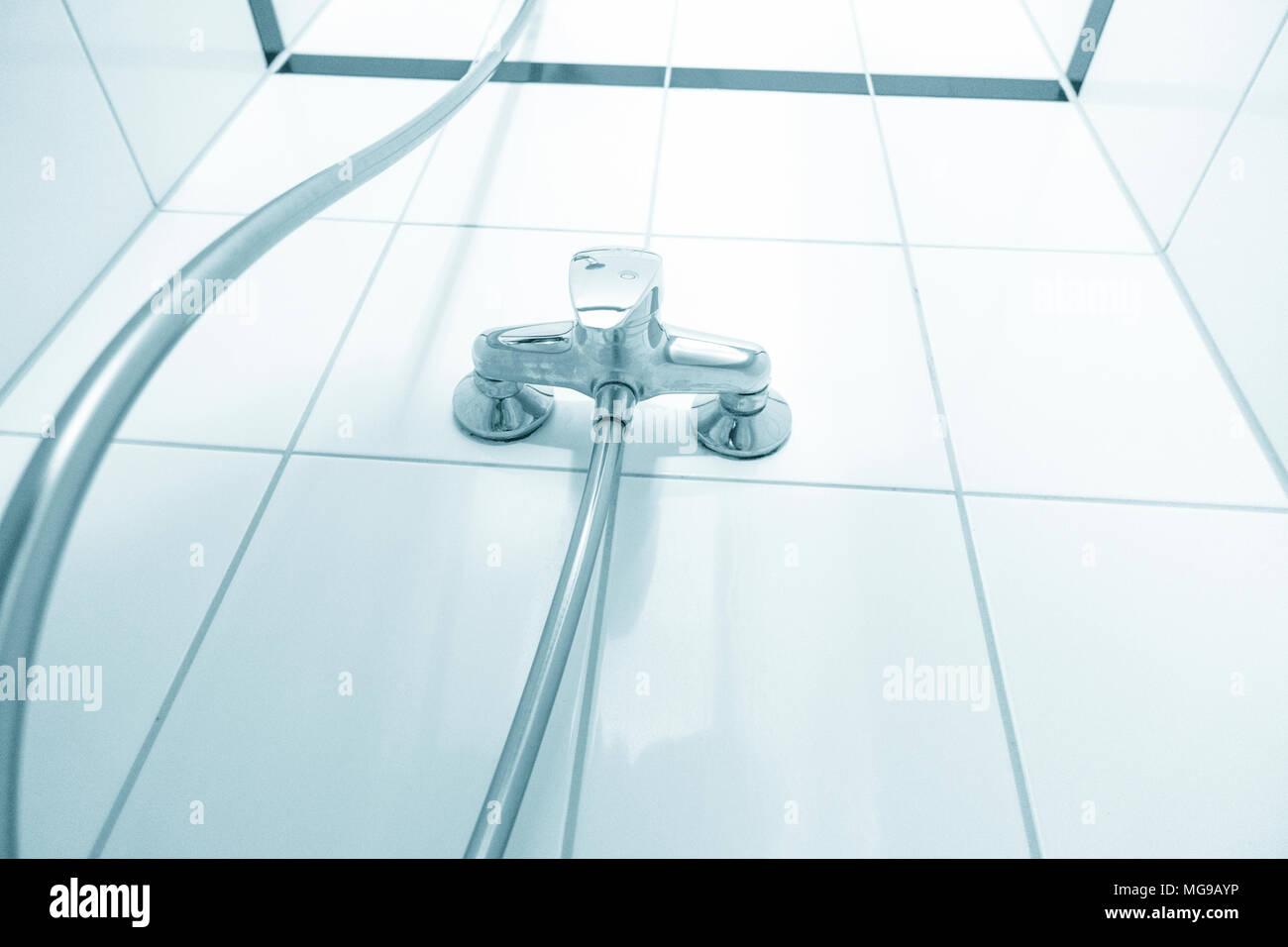 Shower mixer tap. - Stock Image