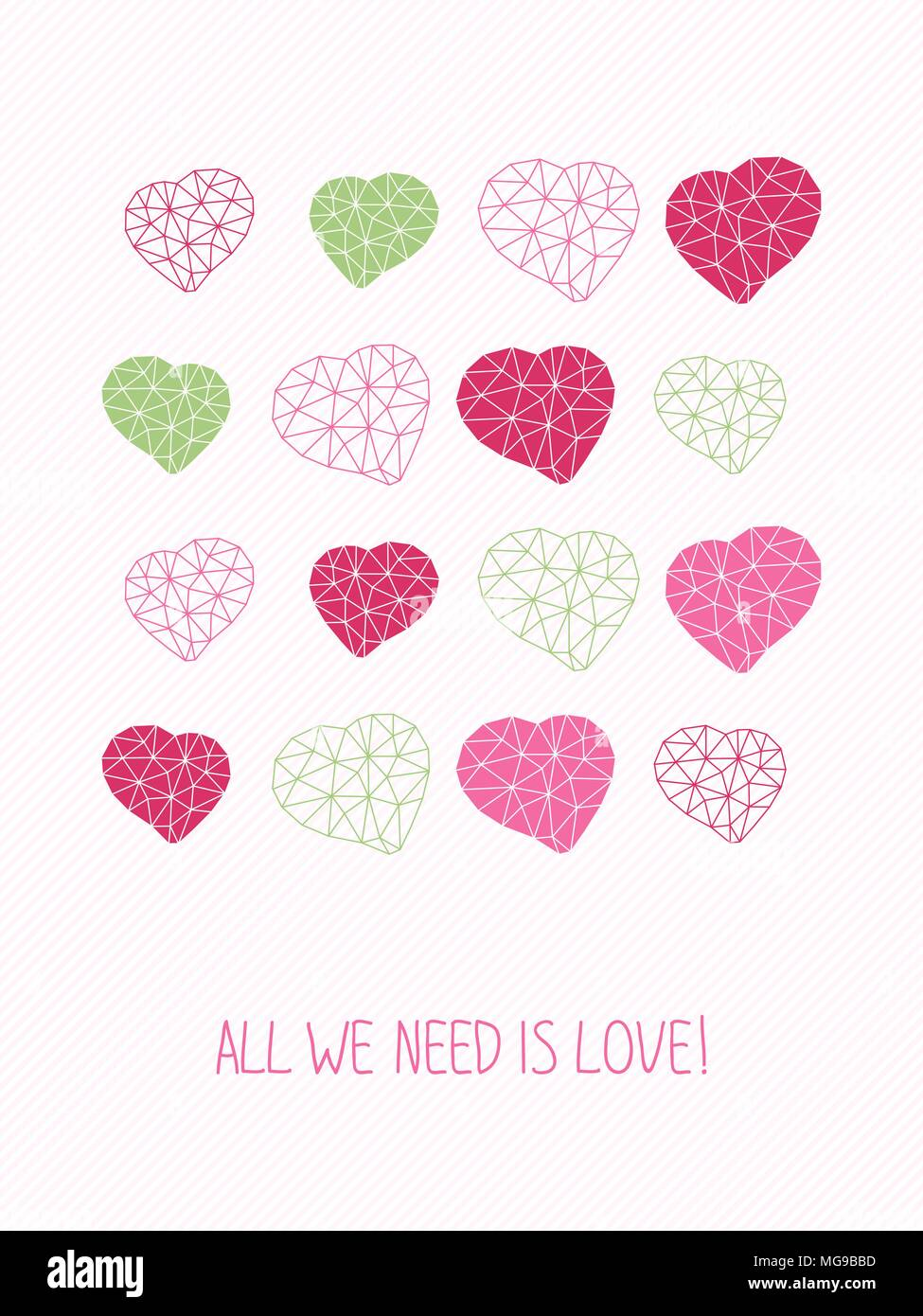 All we need is love greeting card copy space for text hearts greeting card copy space for text hearts made of triangles simple design for flyer postcard or poster valentines day card m4hsunfo