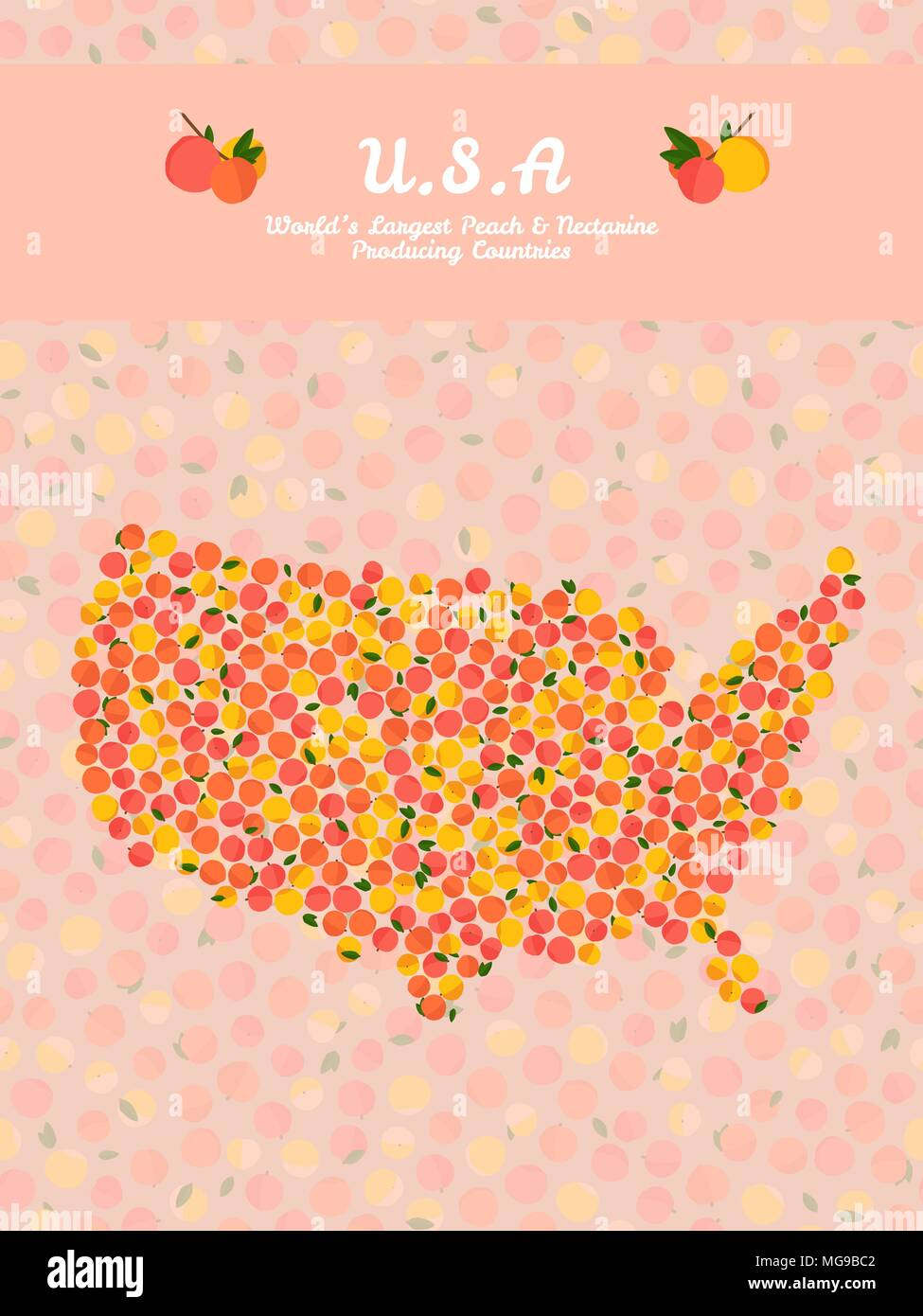 Usa map poster or card veggie postcard map of america made out usa map poster or card veggie postcard map of america made out of pink peaches fruitarian illustration worlds largest peach and nectarine produ gumiabroncs Images