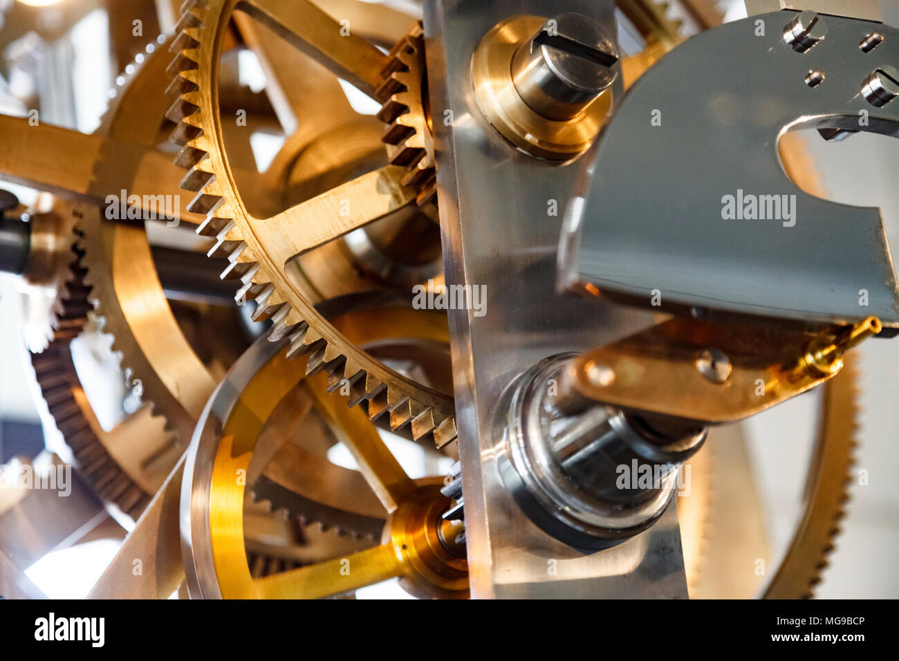 Clock mechanism with gears. - Stock Image