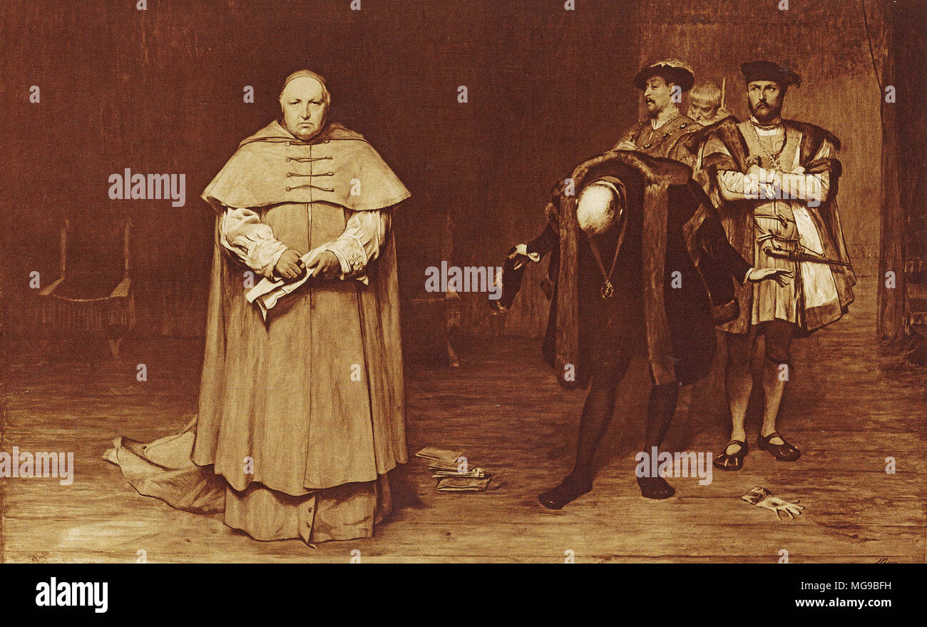 Cardinal Wolsey is called back to London to face charges of treason under Henry VIII. Wolsey died in 1530 before the charges could be tried. - Stock Image