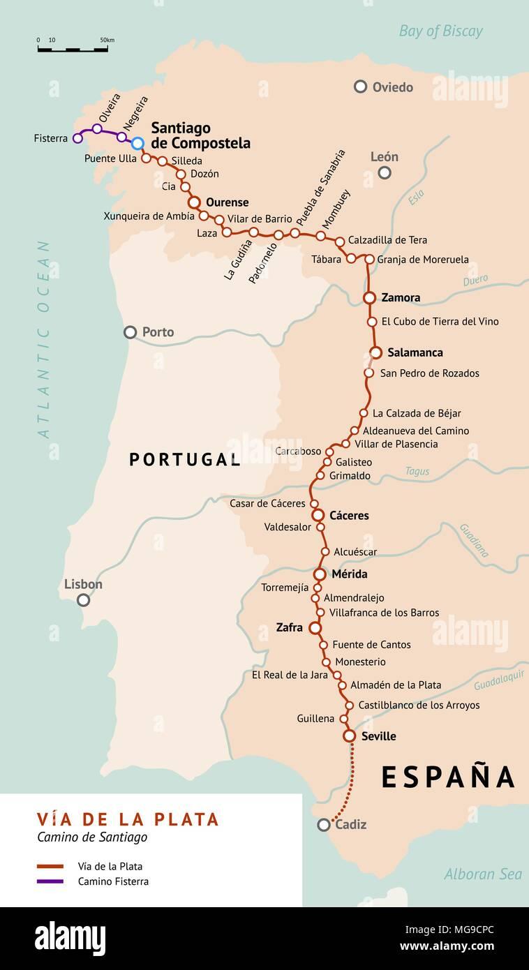 Map Of The South Of Spain.Via De La Plata Map The Silver Route Camino De Santiago Or The Way
