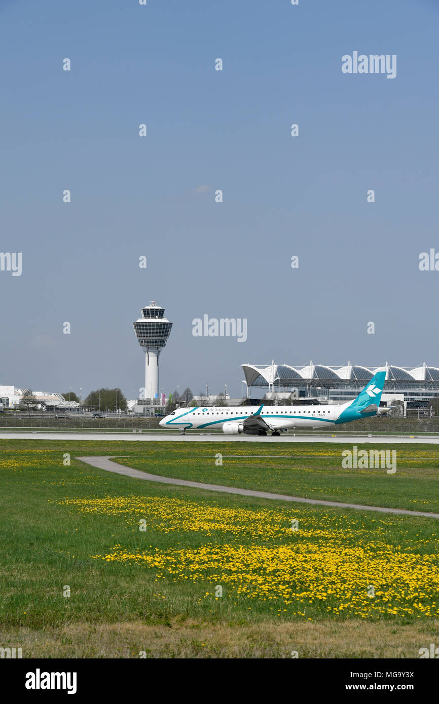 Air Dolomiti, Embraer 195, Aircraft, Airplane, Plane, Overview, View, Panorama, Flower, weed, Grass, Start, Take of, Roll Out, Airport Munich, MUC, Stock Photo