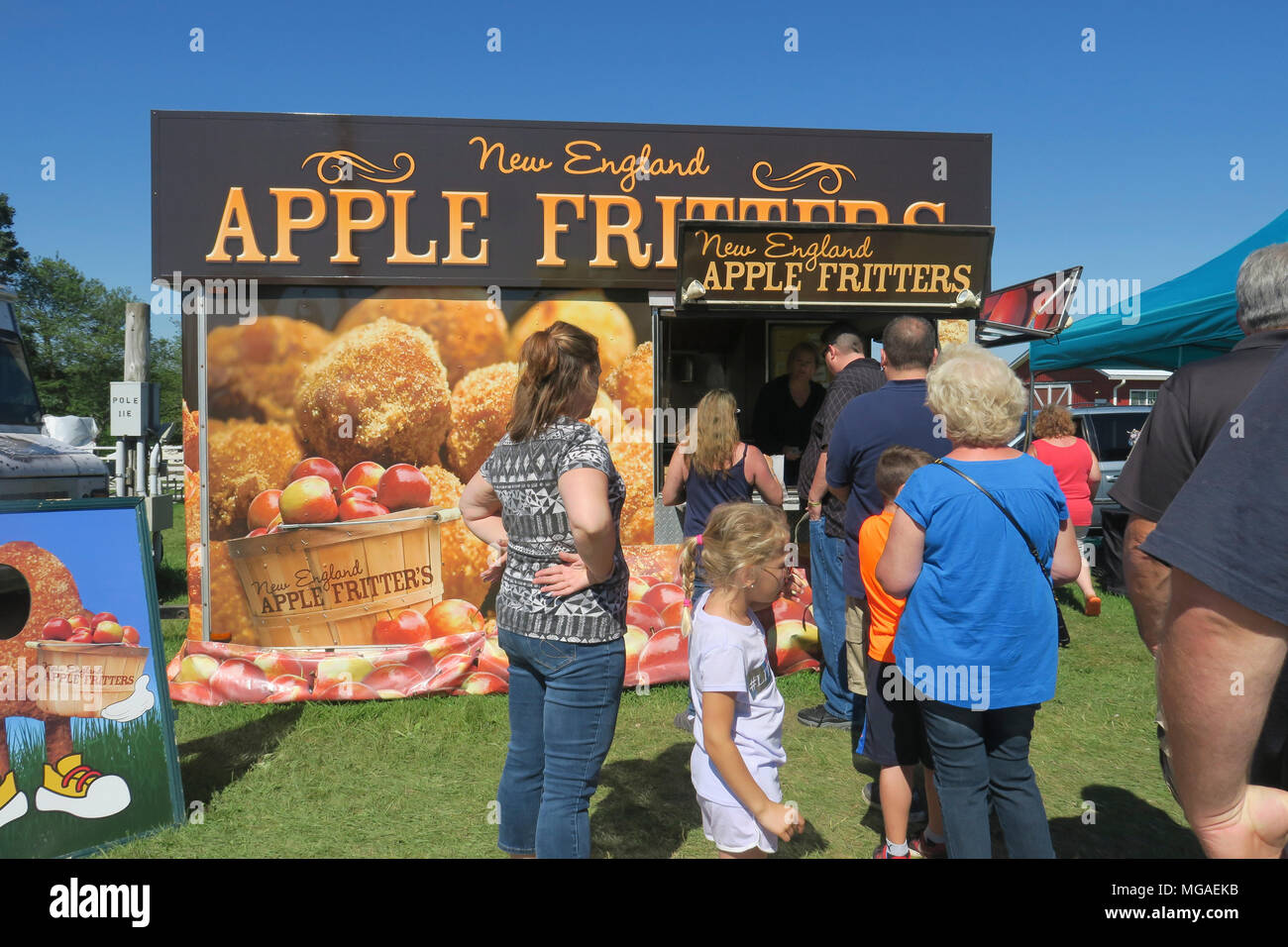 Customers lined up for Apple fritters and a local Connecticut food festival - Stock Image