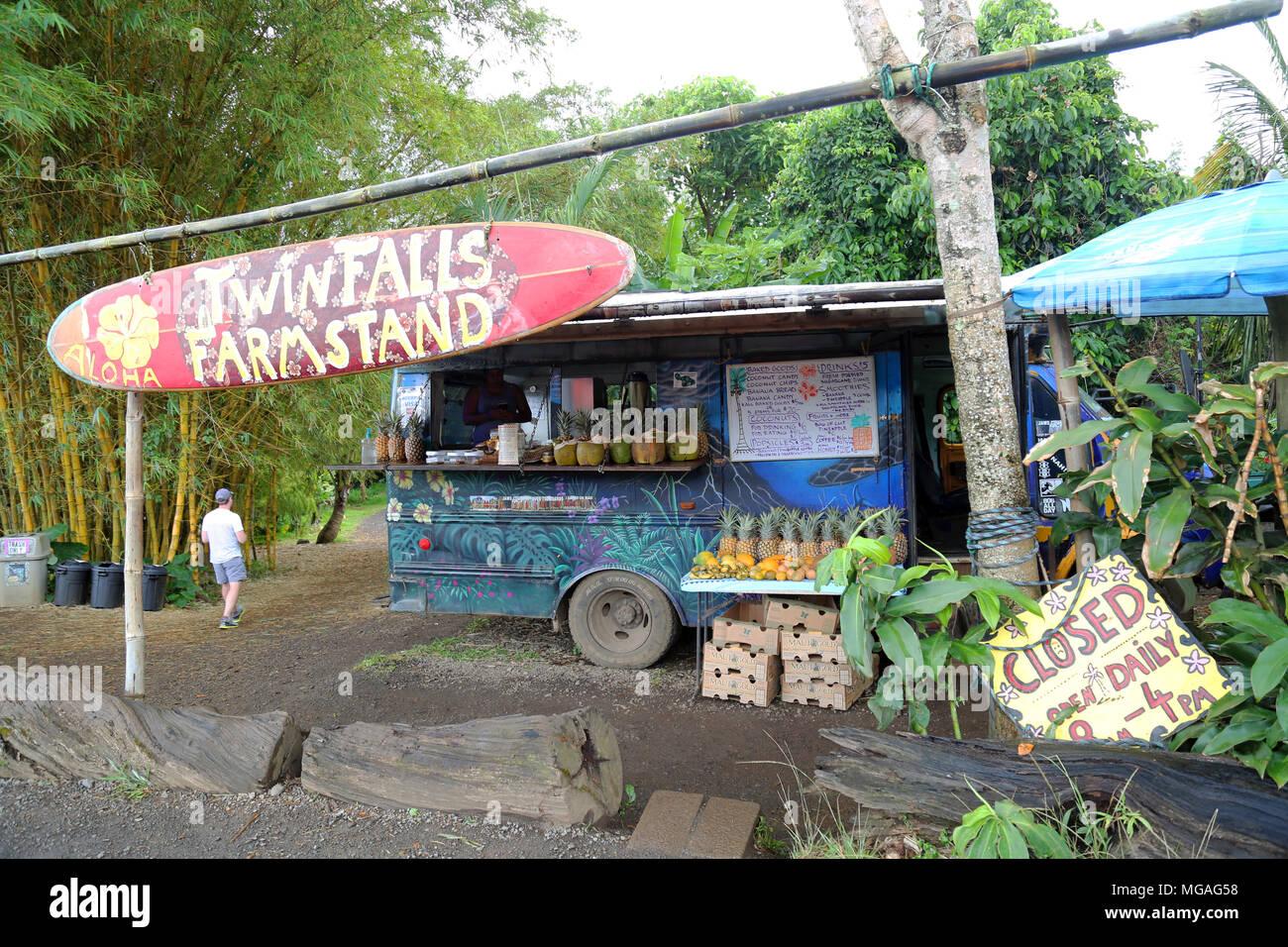 Twin Falls Farm Stand, Maui Stock Photo