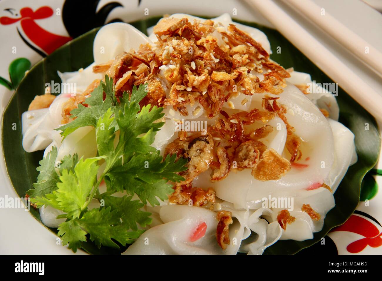 Ci Cong Fan. A local variant of Chee Cheung Fun, the thin rice noodle sheet dish. A very popular street food in Medan. - Stock Image