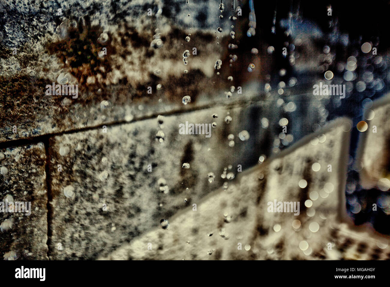 Water drops rain, , droplet, liquid, nature, drop, background, wet, white, illustration, isolated, natural, transparent, dew - Stock Image