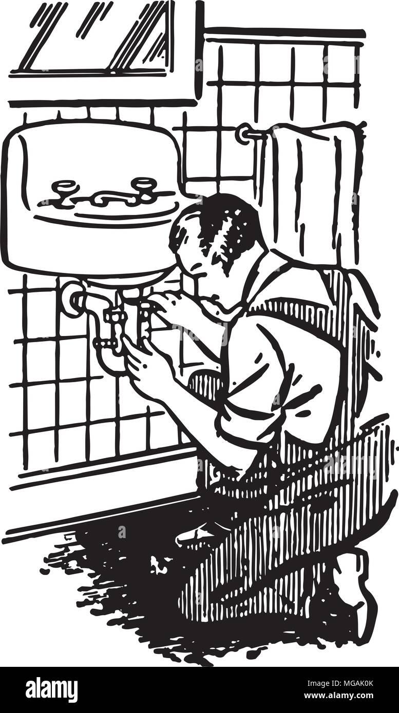 plumber at work retro clipart illustration stock vector art