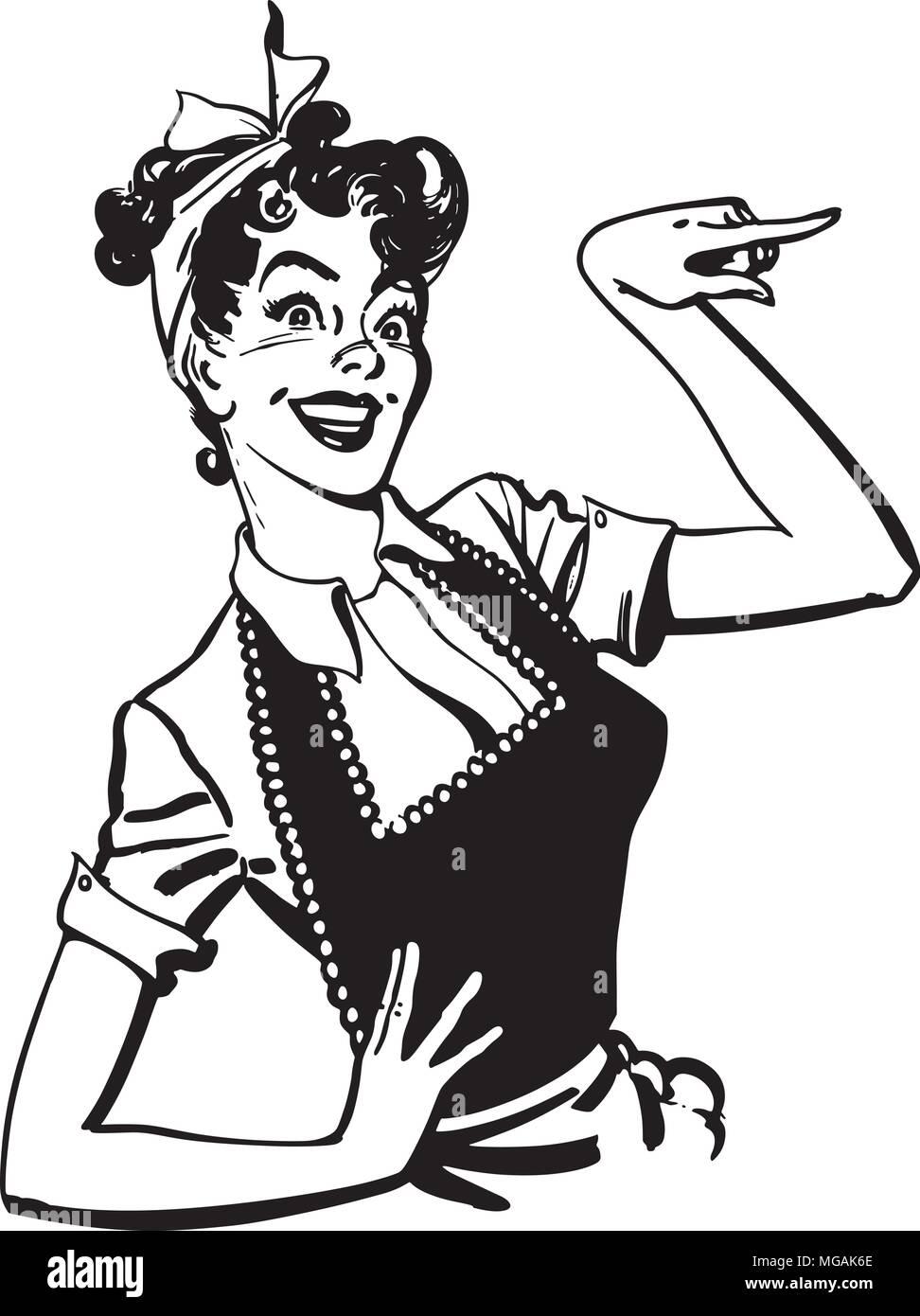 Terrific Pointing Housewife Retro Clipart Illustration Stock Vector Interior Design Ideas Clesiryabchikinfo