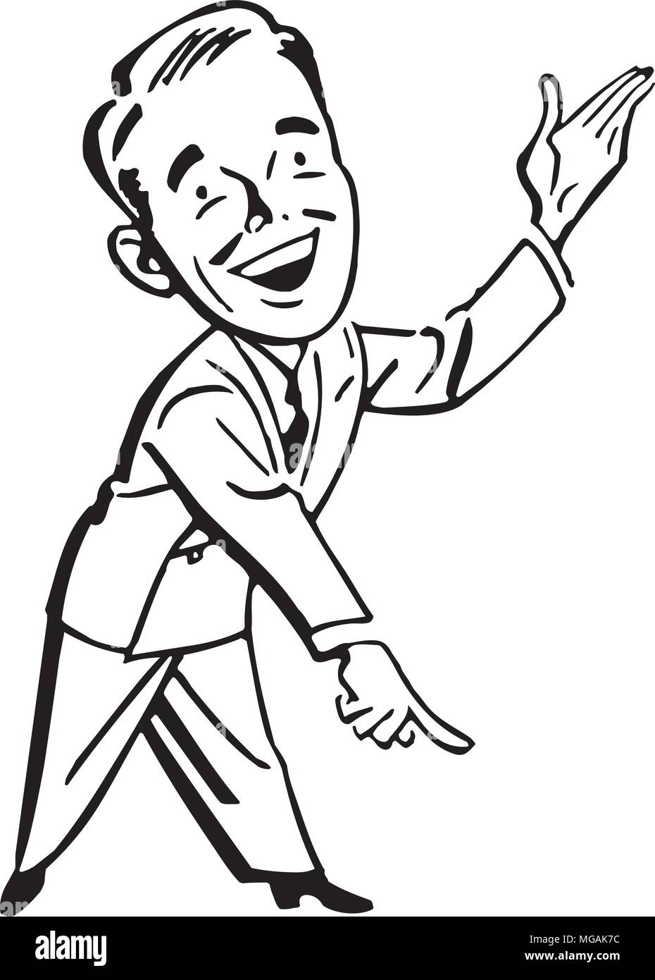 Pointing Man - Retro Clipart Illustration - Stock Image