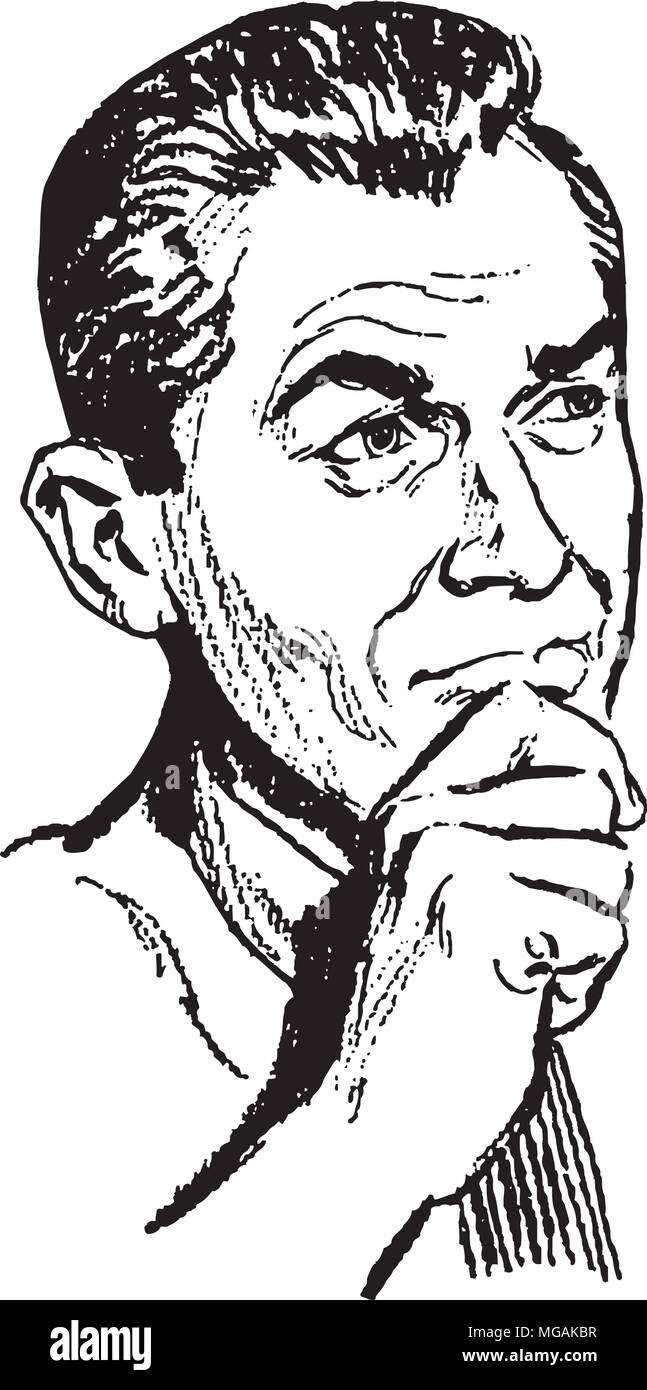 Pondering Man - Retro Clipart Illustration - Stock Vector