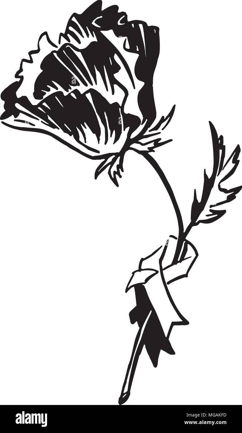 Poppy - Retro Clipart Illustration - Stock Vector