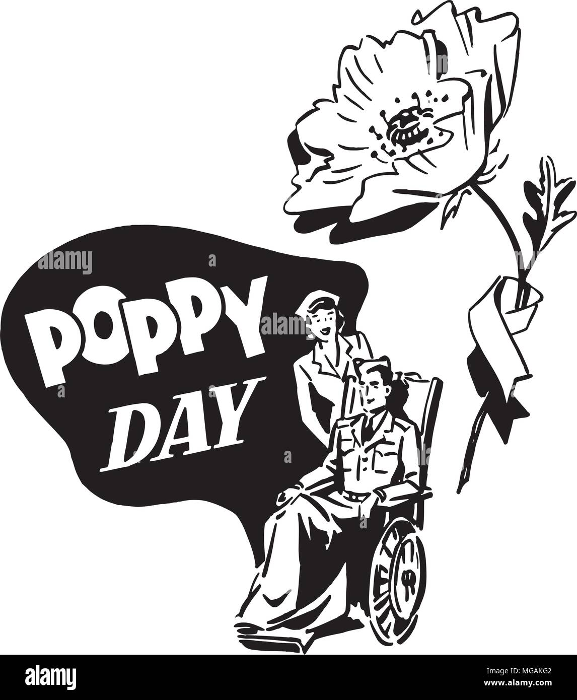 Poppy Day - Retro Clipart Illustration - Stock Vector