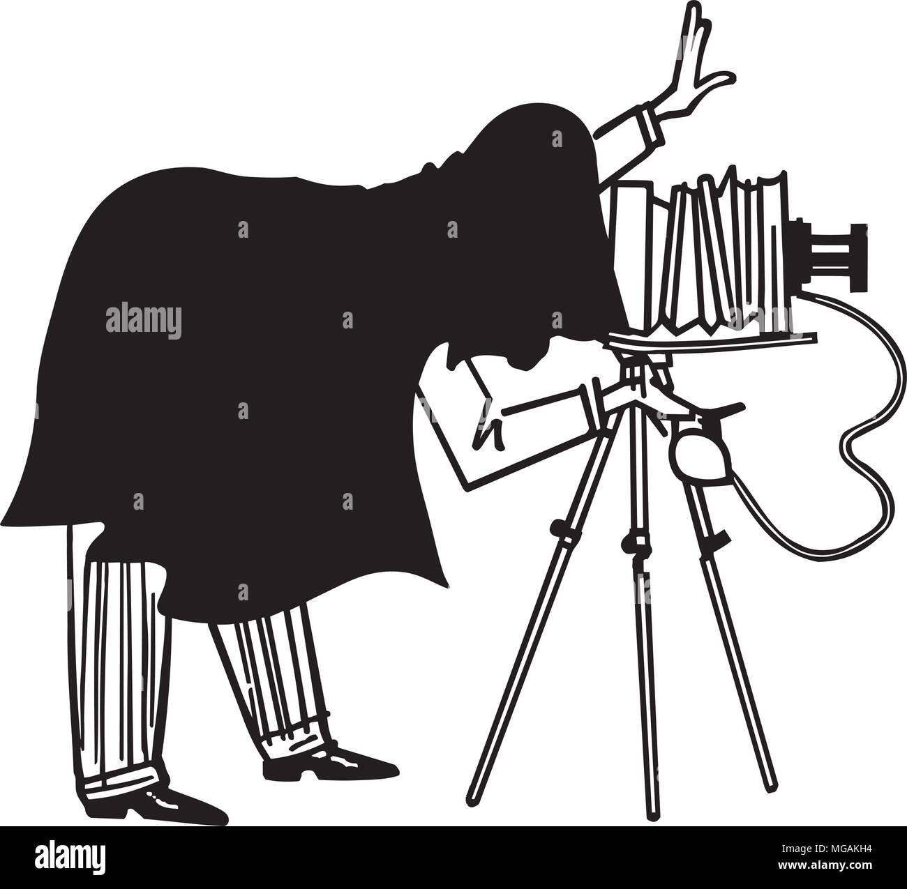 Portait Photographer - Retro Clipart Illustration - Stock Image