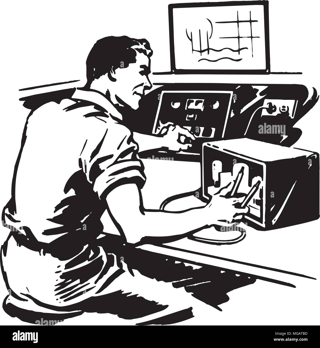 Radio Repairman 2 - Retro Clipart Illustration - Stock Vector