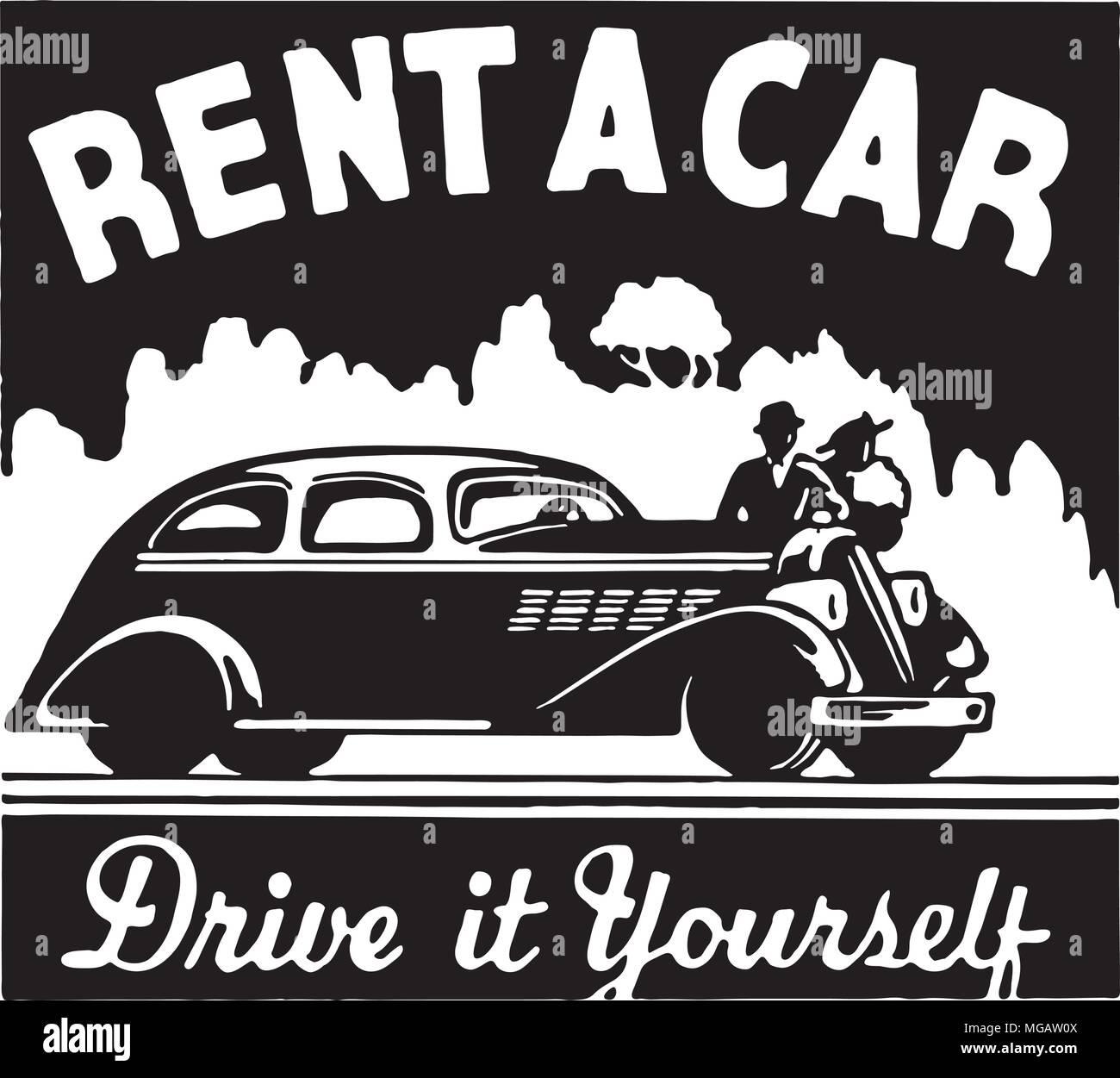 Rent A Car Retro Ad Art Banner Stock Vector Image Art Alamy