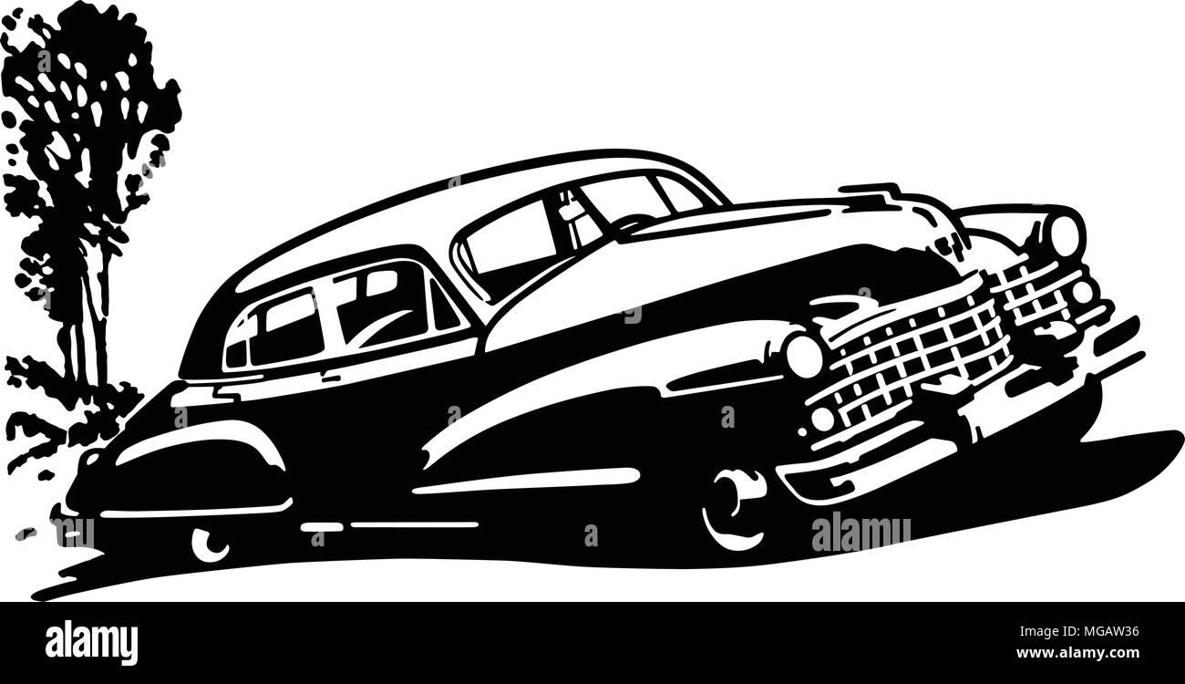 Retro Car - Retro Clipart Illustration - Stock Vector