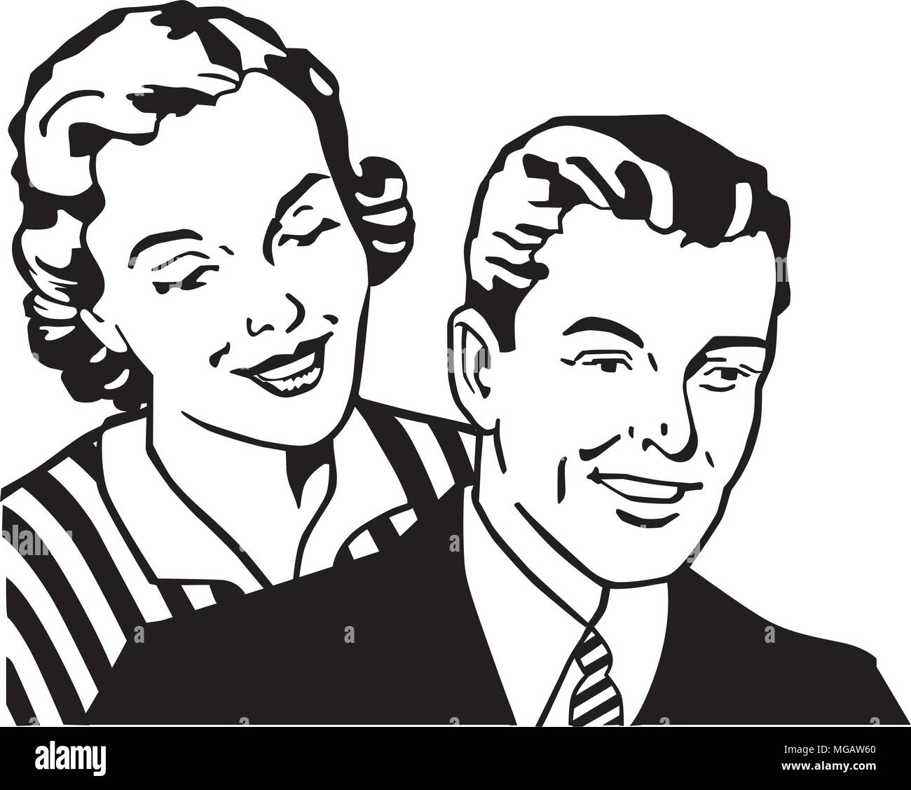 Retro Couple - Retro Clipart Illustration - Stock Image
