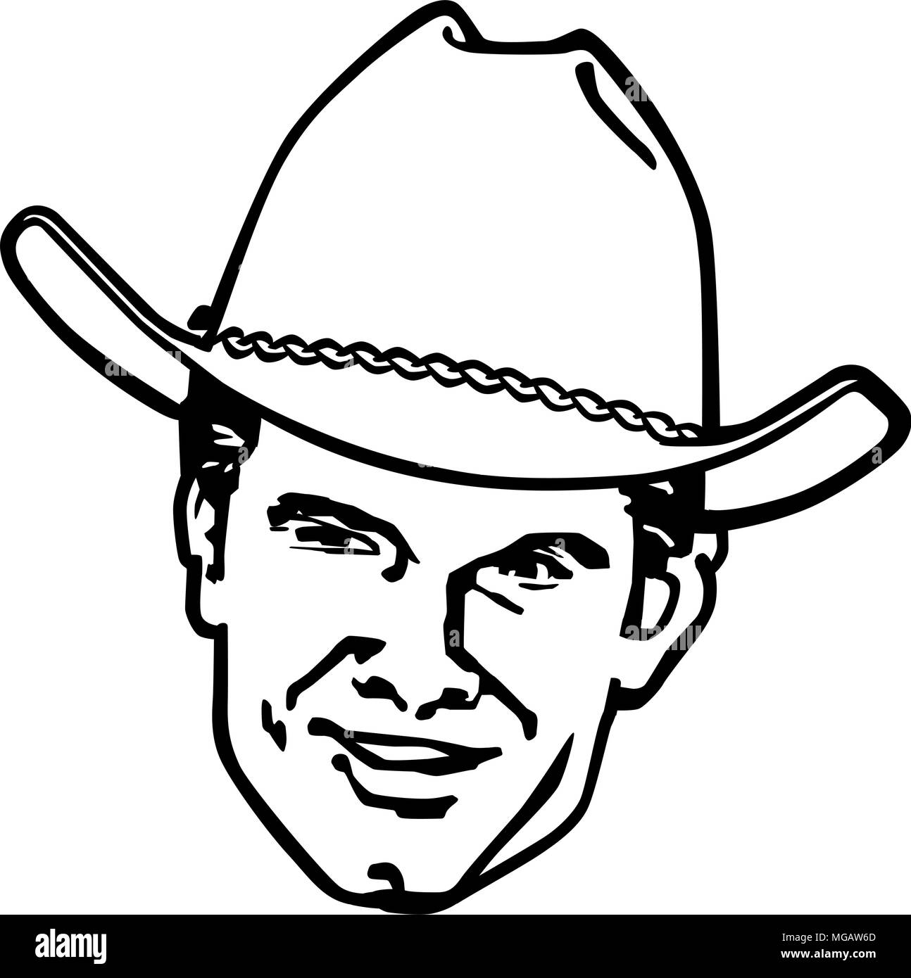 Retro Cowboy - Retro Clipart Illustration - Stock Image