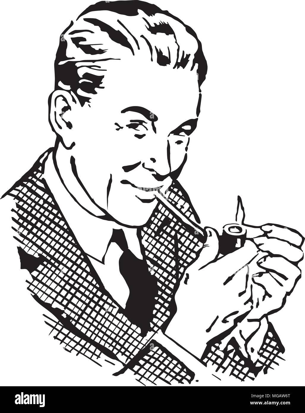 Retro Dad With Pipe - Retro Clipart Illustration - Stock Vector